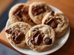 Candy Bar Cookies with Mini Snickers and Ghirardelli Caramel Bars