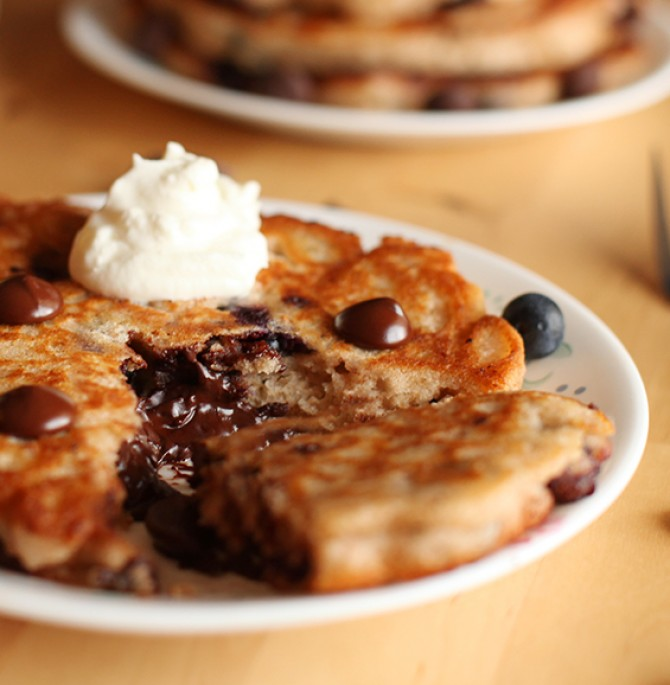 Chocolate Chip and Blueberry Whole Wheat Pancakes