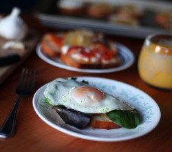 Poached Egg on Savory Breakfast Crostinis