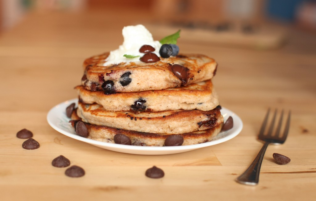 Chocolate and Blueberry Whole Wheat Pancakes