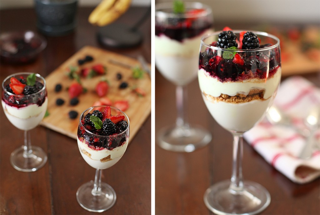 Coconut Yogurt Parfait with Strawberry and Blackberry Compote